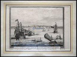 INDIEN: Surat, Gesamtansicht Mit Schiffen Im Vordergrund, Kupferstich Von Schenk Um 1702 - Lithographien