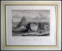 ISRAEL: Fischerwohnungen Am Schwarzen Meer, Stahlstich Von Geyer/French Um 1840 - Lithographien