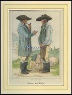 Männer Von Kahls, Kolorierter Stahlstich Von Mühlig Um 1840 - Lithographien