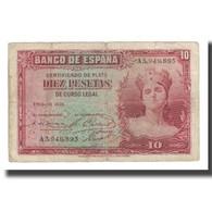 Billet, Espagne, 10 Pesetas, 1935, KM:86a, TB - 10 Pesetas