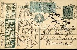 44579 Italia, Intero Pubblicitario Viaggiato 1921 Con Pubblicità  Bergougnan & Tedeschi Pneumatici - 1900-44 Vittorio Emanuele III
