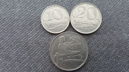 LATVIA 10, 20 & 50 SANTIMU 1922 COPPER-NICKEL COINS - Letonia