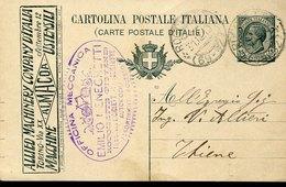 44581 Italia, Intero Pubblicitario Viaggiato 1919 Con Pubblicità Allied Machinery Company D'italia - Entero Postal