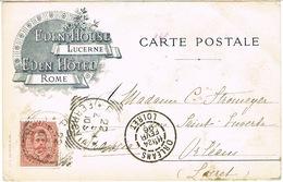 CARTE POSTALE ILUSTREE EDEN HOUSE LUCERNE EDEN HOTEL ROME AU DEPART DE ROME - Marcophilie (Lettres)
