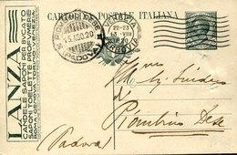 44583 Italia, Intero Pubblicitario Viaggiato 1920 Con Pubblicità Lanza  Candele Saponi Per Bucato - 1900-44 Vittorio Emanuele III
