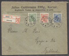 DENMARK. 1917 (2 Feb). Korsor - Germany, Speyer (7 Feb). Reg Tricolor Fkd Env. Lovely Item. 35 Ore Rate. - Danemark