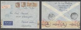 DENMARK. 1943 (2 Jan). Kopenhagen - Argentina, BA. Via Berlin (4 Jan). Lisbon Portugal (11 Jan) Arrival Cachet. Reg Air - Danemark