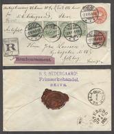 DENMARK. 1895 (2 Sept). Skive - Sweden, Gothenburg (3-4 Sept). Reg Insured 38kr 8sk Red Stat Many Env Five Adtl Stamps 3 - Non Classés