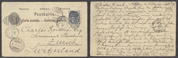 SWITZERLAND. 1886 (2 Oct). Doble 5c Black Stat Card Reply Half Used From GB Newton Le Willows (25 Oct) Adtl GB 1/2d Lila - Switzerland