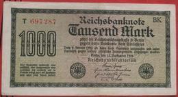1000 Mark 1922 (WPM 76C) 15.9.1922 WZ: Mäander KN 6 Rot - [ 3] 1918-1933 : Repubblica  Di Weimar