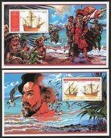 DJIBOUTI 2 BLOCS FEUILLETS SPECIAUX SUR PAPIER GOMME N° 620 à 621 . CARAVELLES DE CHRISTOPHE COLLOMB (1986) . - Cristoforo Colombo