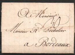 MP33-09 : D'Angleterre 1762 Pour Bordeaux Dept 33 (Gironde) Taxe Manuscrite 30 - Poststempel (Briefe)