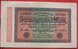 20000 Mark 20.2.1923 (WPM 85A) WZ: Ringe KN: 7 Zeichen - 20000 Mark