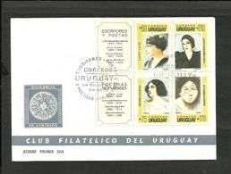 URUGUAY WRITERS AND POETS 1990 Fdc - Uruguay