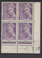 CD 413 FRANCE 1942 COIN DATE 413 : 7 / 1 / 42 TYPE MERCURE - Esquina Con Fecha