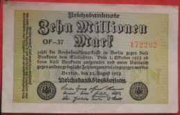 10000000 Mark 22.8.1923 (WPM 106D) 10 Millionen WZ: Wellen - [ 3] 1918-1933: Weimarrepubliek