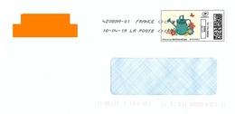 """Montimbrenligne Lettre Verte 20 Gr """"arrosoir Fleurs Papillon"""" Toshiba - France"""