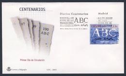 "Spain Espana 2003 FDC + Mi 3819 SG 3935 - Cent. ""ABC"" (1903), Madrid - Daily Newspaper / Tageszeitung / Journal/ Dagblad - FDC"