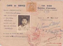 SAIGON Carte De Service Du Quotidien D'information TIN-DIEN 1955 Journalisme Indochine Cochinchine Vietnam  Journaliste - Historische Documenten