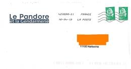 Env Illustrée Le Pandore Et La Gendarmerie Marianne L'engagée Lettre Verte Toshiba - Police - Gendarmerie