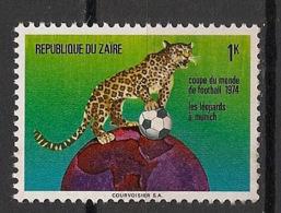 Zaire - 1974 - N°Yv. 837 - Football / Leopard / Panther - Neuf Luxe ** / MNH / Postfrisch - Félins