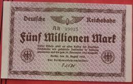 5000000 Mark 22.8.1923 Deutsche Reichsbahn (WPM S1013) 5 Millionen - [ 3] 1918-1933 : République De Weimar