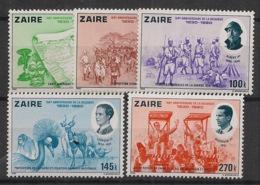 Zaire - 1980 - N°Yv. 1003 à 1007 - Belgique - Neuf Luxe ** / MNH / Postfrisch - Zaire