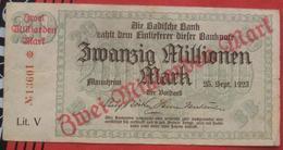 Baden 2000000000 Mark überdruck Auf 20000000 Mark 25.9.1923 Badische Bank (WPM S913) 2 Milliarden - Lokale Ausgaben