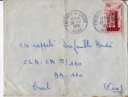 FRESNOY Le GRAND 02 AISNE Cachet R04 H A7 1956 Europa 15f YT 1076 Au Tarif - Postmark Collection (Covers)