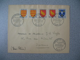 FDC  Enveloppe   1954  Armoiries Des Provinces Cachet Blasons Aunis - Angoumois - Saintonge Paris - FDC