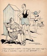 Jean CHAPERON : Rare Dessin Original Signé Encre Crayons De Couleur Projet CPA Ou Journal Vers 1960 - Chaperon, Jean