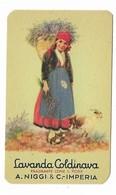"""CARTA PROFUMATA """"LAVANDA COLDINAVA""""A.NIGGI & C. IMPERIA CAPRETTA E DONNINA CON CESTA DI LAVANDA  -2-0882-28938 - Perfume Cards"""
