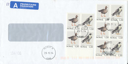 Norway Cover Sent To Denmark Moelv 25-11-2014 With 5 Pair BIRDS - Norvège