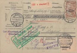 DR Paketkarte Mif Minr.85II,2x 91II,113,114,2x 115 Elberfeld 31.7.20 Gel. In Schweiz - Deutschland
