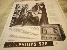 ANCIENNE PUBLICITE TSF PHILIPS 1935 - Musik & Instrumente
