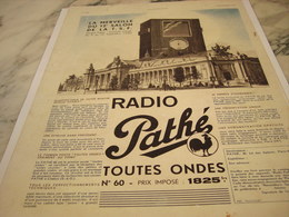 ANCIENNE PUBLICITE TOUTES ONDES  RADIO PATHE 1935 - Music & Instruments