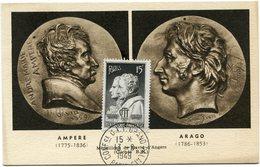 FRANCE CARTE MAXIMUM DU N°845 AMPERE / ARAGO OBLITERATION CONFce U.I.T GRAND PALAIS 13-6-1949 PARIS - 1940-49