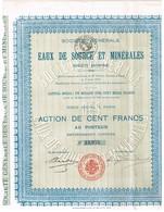Titre Ancien -Société Générale Des Eaux De Source Et Minérales - Titre De 1906 - Eau