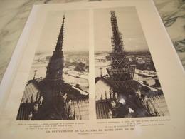 ANCIENNE  PHOTO LA RESTAURATION DE LA FLECHE DE NOTRE DAME DE PARIS 1935 - Old Paper