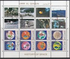 Umm Al KAIWAIN 1972 - MiNr. 1082-1097 Minisheet  Used - Raumfahrt