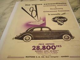 ANCIENNE PUBLICITE VOITURE V8 MATFORD ALSACE  1935 - Voitures