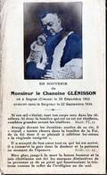 Faire-part De Décès De Monsieur Le Chanoine GLENISSON Né à Sagnat (Creuse)le 25/12/1852 Endormi Le 22 Sept 1939 - Décès