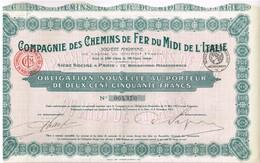 Titre Ancien - Compagnie Des Chemins De Fer Du Midi De L'Italie - Titre De 1921 - Chemin De Fer & Tramway