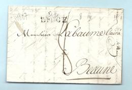 Département Conquis De L'Ourthe - Liege Pour Labaume à Beaune. LAC De 1807 - Marcofilie (Brieven)