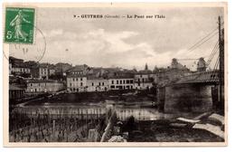 CPA Guîtres 33. Le Pont (suspendu) Sur L'Isle. 1914 - Andere Gemeenten