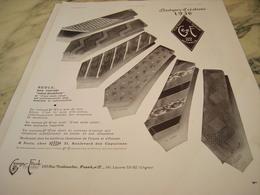 ANCIENNE PUBLICITE CRAVATES GEORGE FRANK CREATION 1936 - Vintage Clothes & Linen
