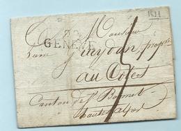 Département Conquis Du Leman - Geneve. LAC De 1811// Commandant Du Dépot Du 8e Régiment D'infanterie Légère - Marcophilie (Lettres)