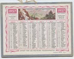 Almanach Des Postes, 1957,  Calendrier Petit Format, Oller,14,5 X11, Offert Par Facteurs Télégraphistes, Mer, Montagne - Calendriers