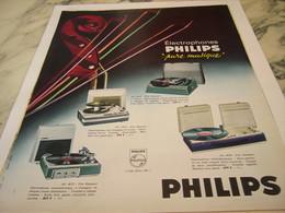 ANCIENNE  PUBLICITE PURE MUSIQUE ELECTROPHONES  PHILIPS 1964 - Musik & Instrumente