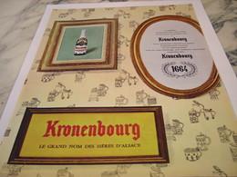 ANCIENNE PUBLICITE   BIERE D ALSACE  KRONENBOURG 1964 - Alcools